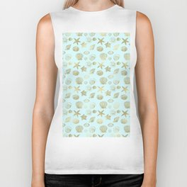 Blue Mint Gold Sea Shells Biker Tank
