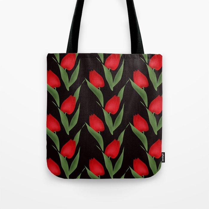 Tulips on black . Tote Bag