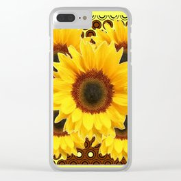 DECORATIVE DECO BROWN & YELLOW SUNFLOWERS DESIGN Clear iPhone Case