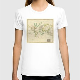 Vintage Map of The World (1814) T-shirt