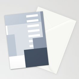 Carson Abstract Geometric Print in Blue Stationery Cards