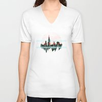 chicago V-neck T-shirts featuring Chicago by black out ronin