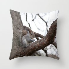 Squirrel with peanut Throw Pillow