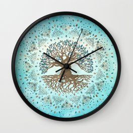 Tree of Life - Yggdrasil - Gentle blue Wall Clock