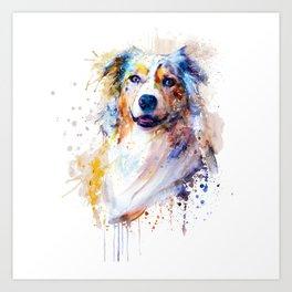Australian Shepherd Portrait Art Print