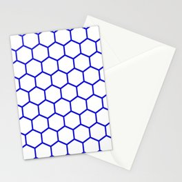 White and blue honeycomb pattern Stationery Cards