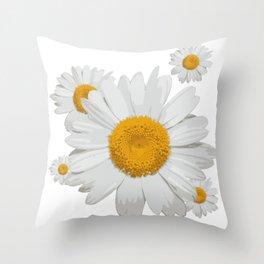 Daisy flower minimal white cute Throw Pillow