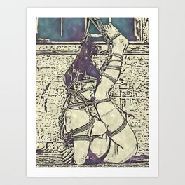 Ink and watercolor - Shibari slave girl, BDSM erotic Art Print