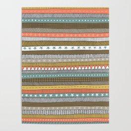 natural color doodle stripes Poster