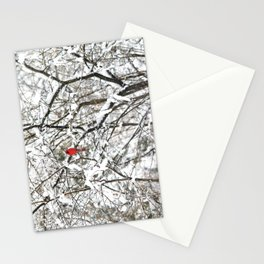 Bright Red Cardinal in the Snowy Woods Stationery Cards