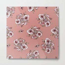 Rose Gold Flower Pattern Pink Flowers Metal Print