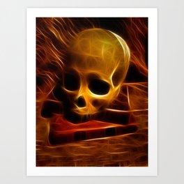 Skull and Books Art Print