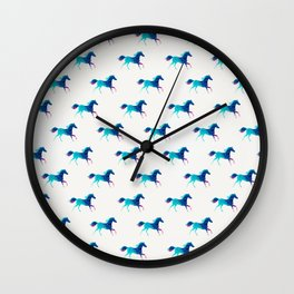 blue horse pattern Wall Clock