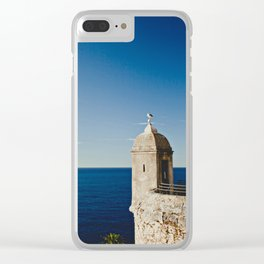 Seagull sitting on an old stone tower, Monaco, Cote d'Azur Clear iPhone Case