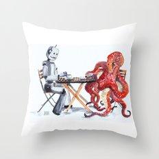 Robot Octopus Coffee Date Throw Pillow