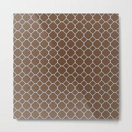 Coffee Brown Clover Pattern Metal Print