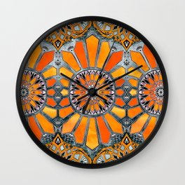 Celebrating the 70's - tangerine orange watercolor on grey Wall Clock