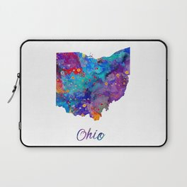 Ohio State Art Colorful Watercolor USA State Map USA Map State with Name Map Art Laptop Sleeve