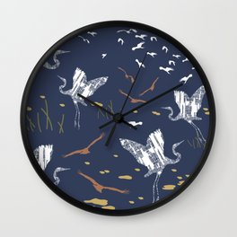 Flying Egrets With Blue Background Wall Clock
