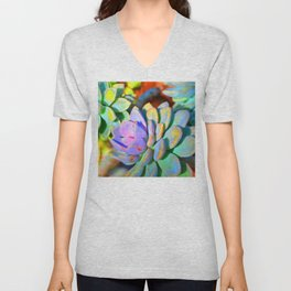 Succulent Color - Botanical Art by Sharon Cummings Unisex V-Neck