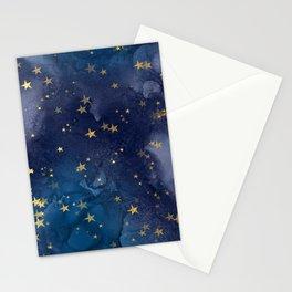 Gold stardust night sky Stationery Cards