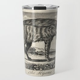 A hyena standing in a rocky landscape. Etching. Travel Mug