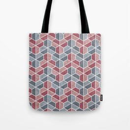 Pattern of three – blue and red Tote Bag