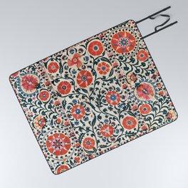 Shakhrisyabz Suzani  Uzbekistan Antique Floral Embroidery Print Picnic Blanket