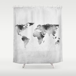 World Map - Hammered Metallic Monochrome Shower Curtain