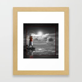 Lighthouse and Sailboat under moonlight Framed Art Print