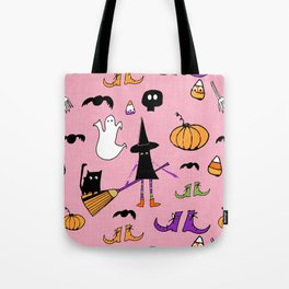 Cute #Halloween Witch and Friends Pink Tote Bag