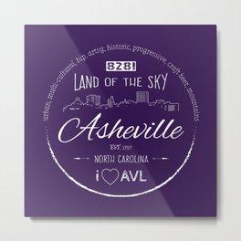 Asheville, NC - AVL 16 White on Purple Metal Print