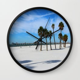 Clearwater Pier And Beach Wall Clock