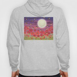 purple sky, fireflies, snails, and poppies Hoody