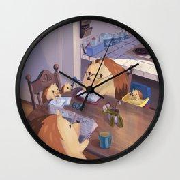 Hedgehog Family Wall Clock