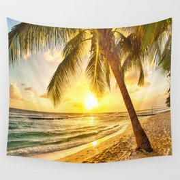 Beach - Palm Trees - Ocean - Shore - Sand - Nature - Sun Wall Tapestry
