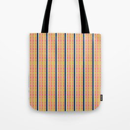 Cora Yellow and Blue Picnic Stripe Pattern Tote Bag