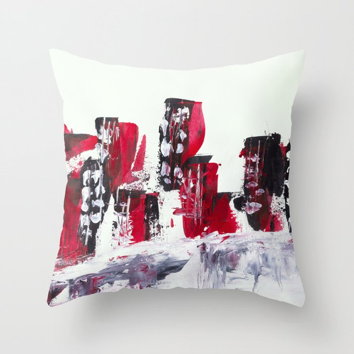 Red Black Cityscape Throw Pillow