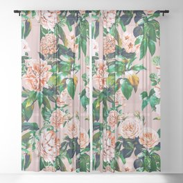 Pink garden Sheer Curtain