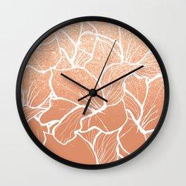 Modern copper tan terracotta glitter ombre color block white floral pattern illustration Wall Clock