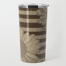 Beige Daisies with Stripes Travel Mug