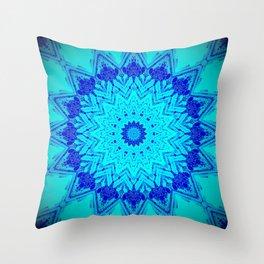Bright blue turquoise Mandala Design Throw Pillow