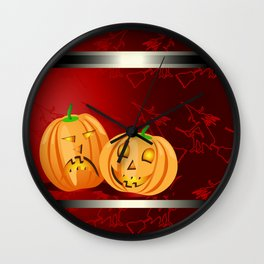 Pumpkins and spooky witches Wall Clock