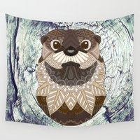 otter Wall Tapestries featuring Ornate Otter by ArtLovePassion