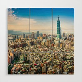 Aerial view and cityscape of Taipei, Taiwan Wood Wall Art