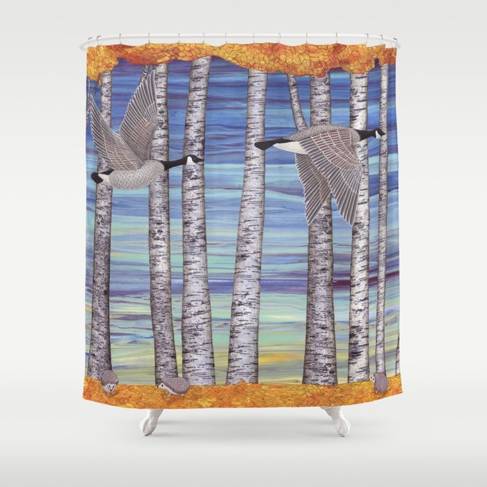Canada geese, hedgehogs, and autumn birch trees Shower Curtain