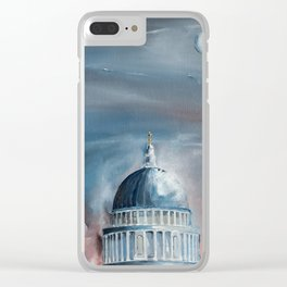 St Paul's Cathedral London lit by the Full Moon Clear iPhone Case