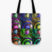 popart Tote Bags featuring Cap PopArt by KP Designs