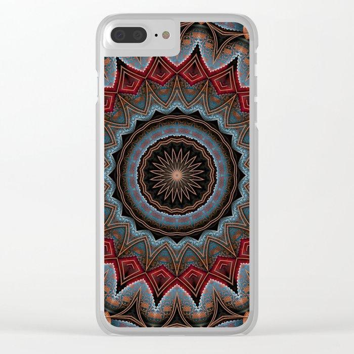 Elegant Damask Star Mandala Clear iPhone Case