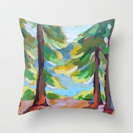 Still - Trees and Lake Throw Pillow